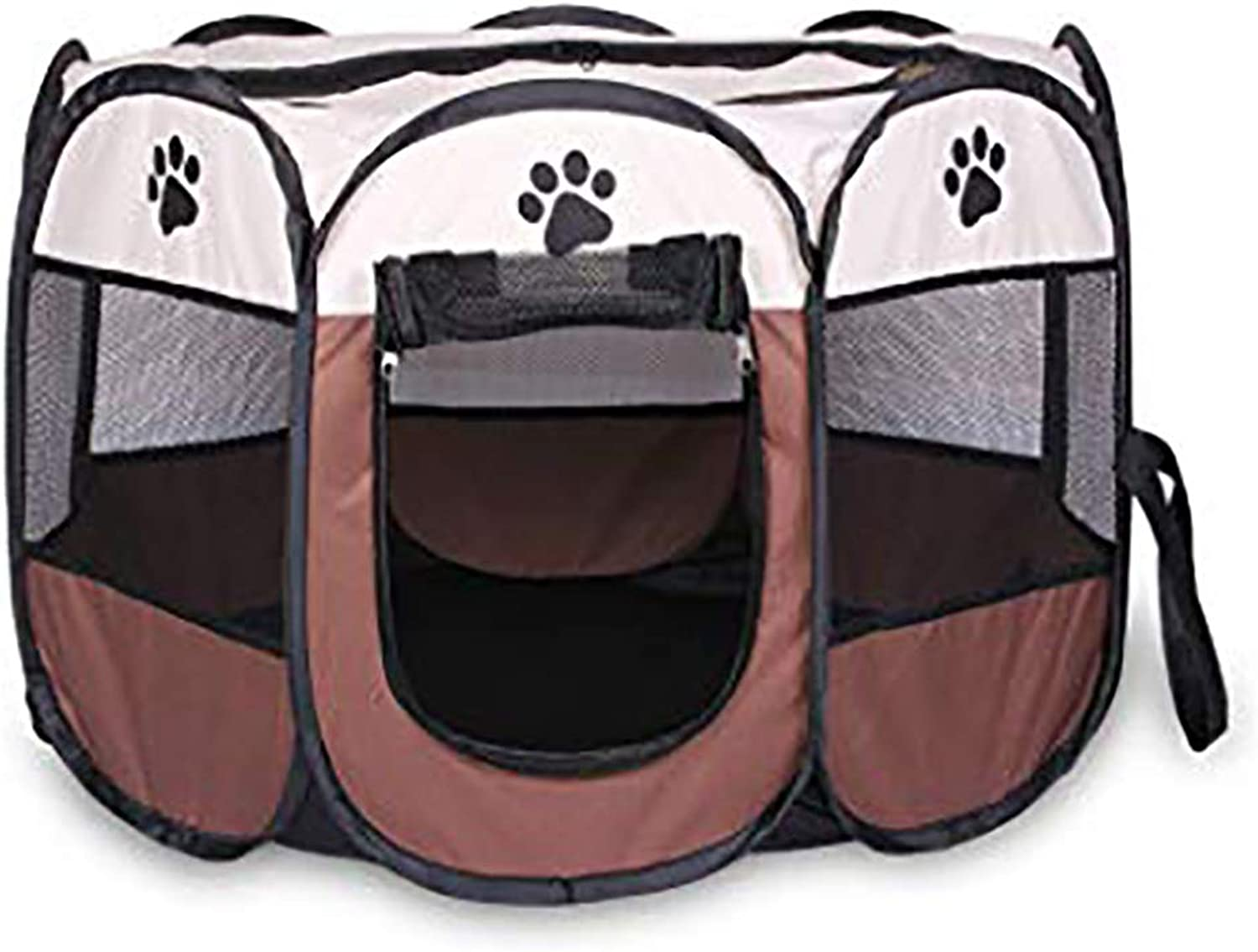 Pet tent cat delivery room folding cat nest cat delivery box closed outdoor dog kennel pet dog production supplies easy to operate octagonal fence provides romantic fun portable folding pet tent( beige white),S
