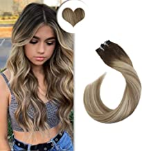 Ugeat 16inch 8A Grade 100% Brazilian Remy Clip in Human Hair Extensions #3/8/22 Balayage Brown Mixed Blonde Clip in Extensions Double Weft Fashion Hair 120 Gram Full Head Set
