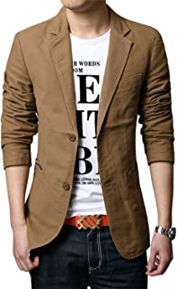 chouyatou Men`s Slim 2-Button Single Breasted Cotton Lightweight Blazer Jacket Sport Coat