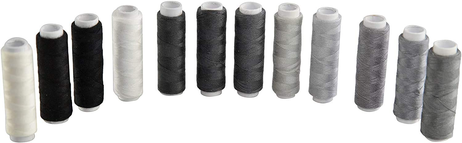 HOME-X Set of 12 All Purpose Thread Set, Sewing Supplies, Sew Essentials, Monochromatic, Shades of Gray, Black and White