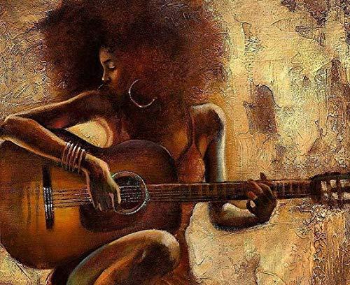 YHZSML DIY 5D Kit De Pintura De Diamante por Número,Mujer Africana, Tocar la Guitarra Diamond Painting,Kit de Pintura de Diamantes para Adultos para Decoración de la Pared del Hogar 40x50cm
