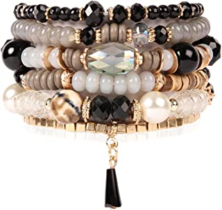 Bead Multi Layer Versatile Statement Bracelets - Stackable Beaded Strand Stretch Bangles Sparkly Crystal Mix, Tassel Charm