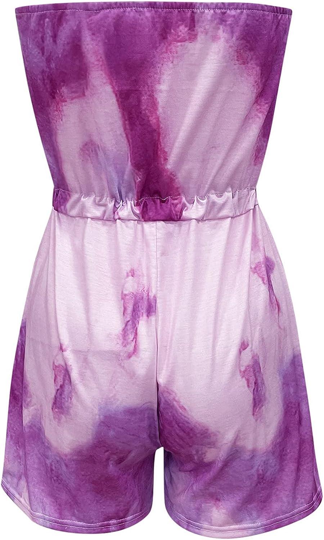 Women's Casual Off Shoulder Floral Print Playsuit Strapless Tube Top Belted Wide Leg Romper Summer Short Jumpsuit