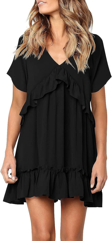 Cosonsen Women's Summer Dresses V-Neck Short Sleeve Ruffle Floral Swing Short Dress