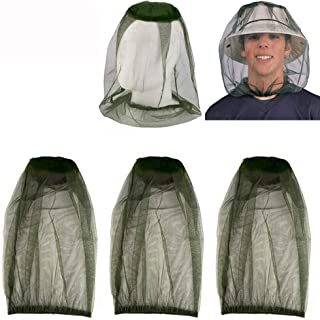 HEYUS [3 Pack] Head Net Mesh Face Neck Protection from Insects Bugs Flies Gnats, Beekeeper Anti-Mosquito Bee Fly Mask Cap ...