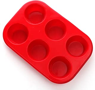 Silicone Muffin Pan, European LFGB Silicone Cupcake Baking Pan, 6 Cup Muffin, Non-Stick Muffin Tray, FDA LFGB Approved Egg Muffin Pan, Food Grade Molds Red