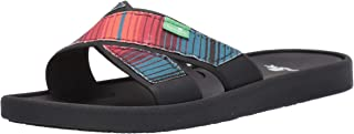 Sanuk Women's Beachwalker Slide TX Sandal, Black Multi Fade, 6 M US