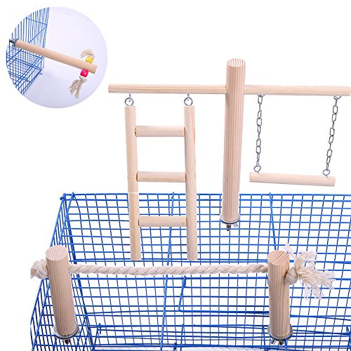 QBLEEV Parakeet Perches Outside Cage, Bird Swing Conure Toys Table Cage Top Play Stand Parrot Climbing Ladder Rope Perches Stands Chewing Wood Play Gyms Playground for Cockatiel Lovebirds Finches