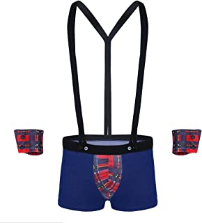 Alvivi Men's 3Pcs Lingerie Set Bugle Pouch Boxer Shorts with Plaid Y Back Suspender Outfits