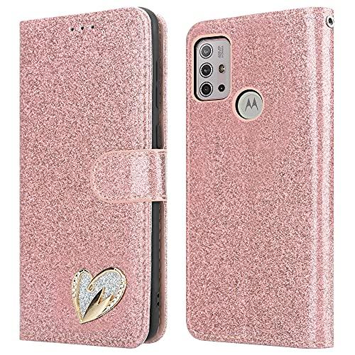 iPEAK Para Motorola Moto G10 Caso (6.5'') Cuero brillante Bling Glitter Libro Flip Stand Card Wallet Funda protectora para Moto G10 Teléfono (Rosegold)