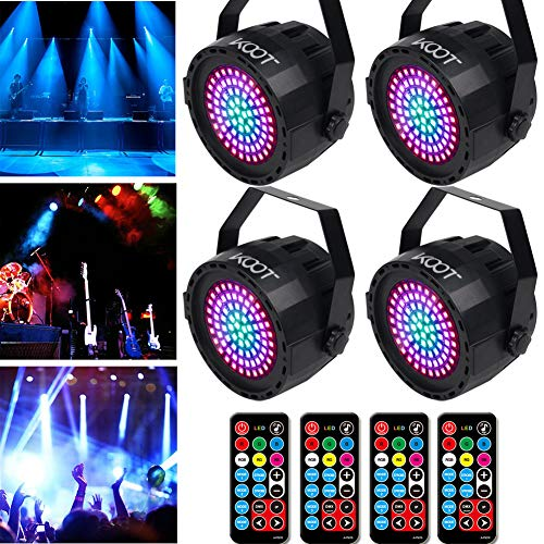 KOOT LED PAR 78LEDS Bühnenlicht RGB Party Licht Par Disco Licht RGB Scheinwerfe DJ Licht Bühnenlicht Ton mit Fernbedienung DMX Beste für Bühnenbeleuchtung Parteien (4 Stck)