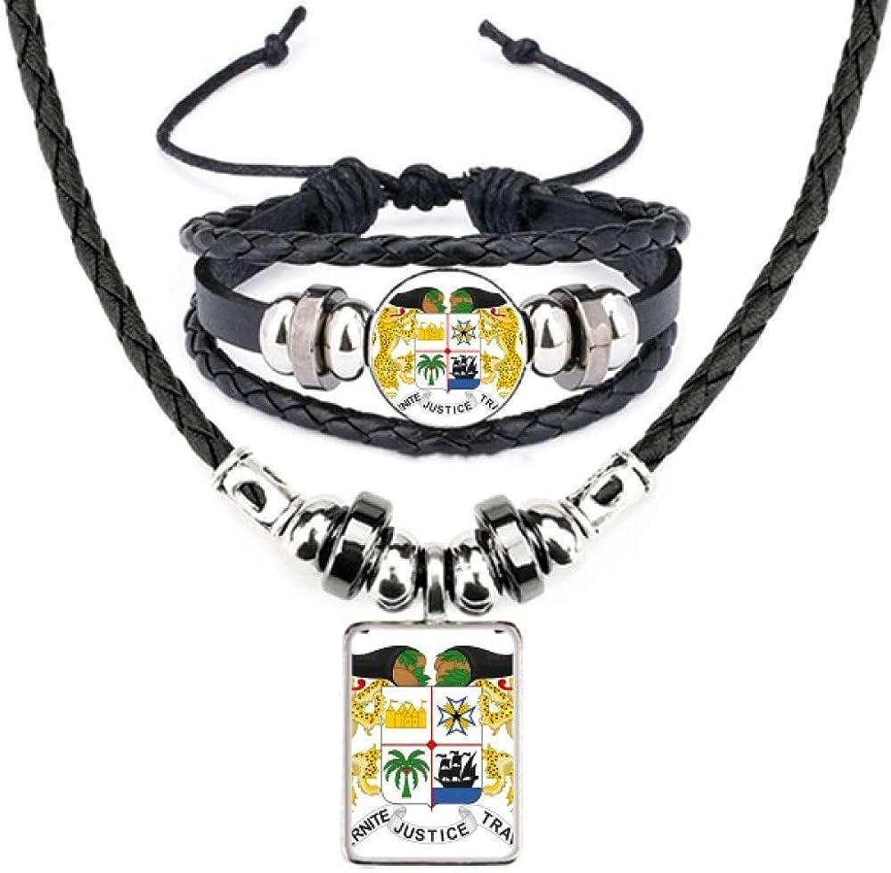 Benin National Emblem Country Leather Necklace Bracelet Jewelry Set