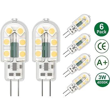 Klighten 6-Pack 3W G4 LED Bombillas, AC/DC 12V Bombillas de iluminación equivalente a 25W Halógena, Blanco natural 4000K, No Regulable: Amazon.es: Iluminación