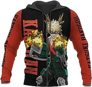 My Hero Academia Sudadera con capucha Bakugou Katsuki Cosplay Costume Zip up Jacket Sudadera Negro
