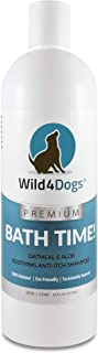 Wild 4 Dogs Premium Oatmeal & Aloe Shampoo for Dogs and Puppies - for a Fresh and Clean Dog - All Natural, No Harsh Chemicals, Relieves Dry Itchy Skin, Anti-Itch Shampoo