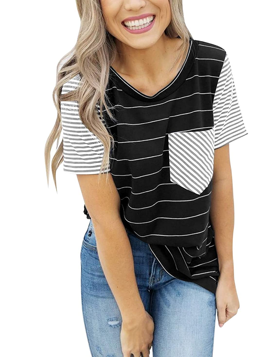 MEROKEETY Women's Summer Striped Short Sleeve Contrast Color Casual T-Shirt Tops with Pocket