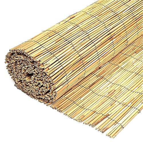 Wilsons Direct Natural Peeled Reed Fence Wooden Garden Screen Fence Fencing Privacy Panel Roll (1.5m x 4m)