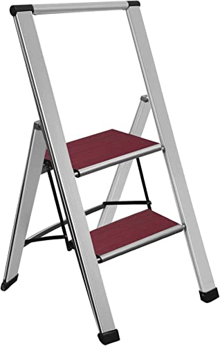discount Sorfey Premium 2 Step Modern Mahogany Ladder. Lightweight,-Ultra high quality Slim Profile, Anti Slip Steps, new arrival Sturdy-Portable for Home, Office, Kitchen, Photography Use, Aluminum Finish online sale