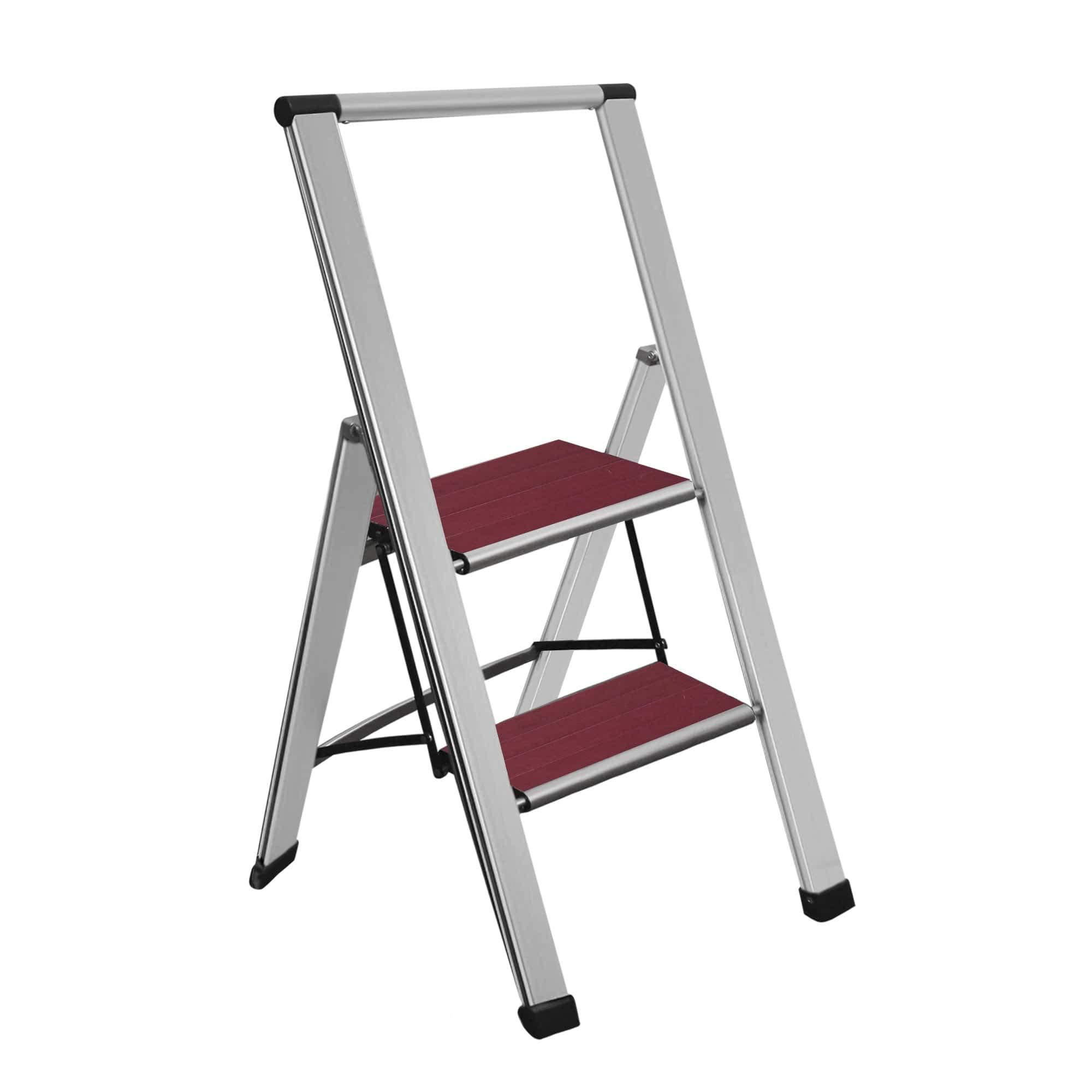 Escalera plegable de aluminio de 3 peldaños, antideslizante, resistente, ligera y diseño delgado: Amazon.es: Bricolaje y herramientas