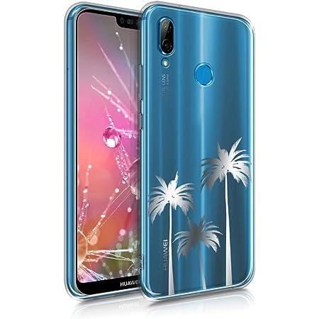 kwmobile Coque Compatible avec Huawei P20 Lite - Housse Protectrice pour Téléphone en Silicone Palmier argenté-Transparent