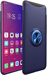OPPO Find X Case, Ikwcase 360 Degree Rotating Ring Holder Case (Compatible with Magnetic Car Mount) Resilient TPU Drop Protection Case Cover for OPPO Find X Navy Blue