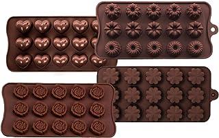 Lot de 4 moules à chocolat en silicone pour confection de chocolats durs, convient pour les enfants, la famille, les couples.