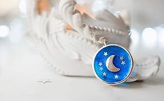 1591/5000 collana a luna crescente, gioielli luna, gioielli celesti, pendente a forma di stella, collana blu, collana a fa...