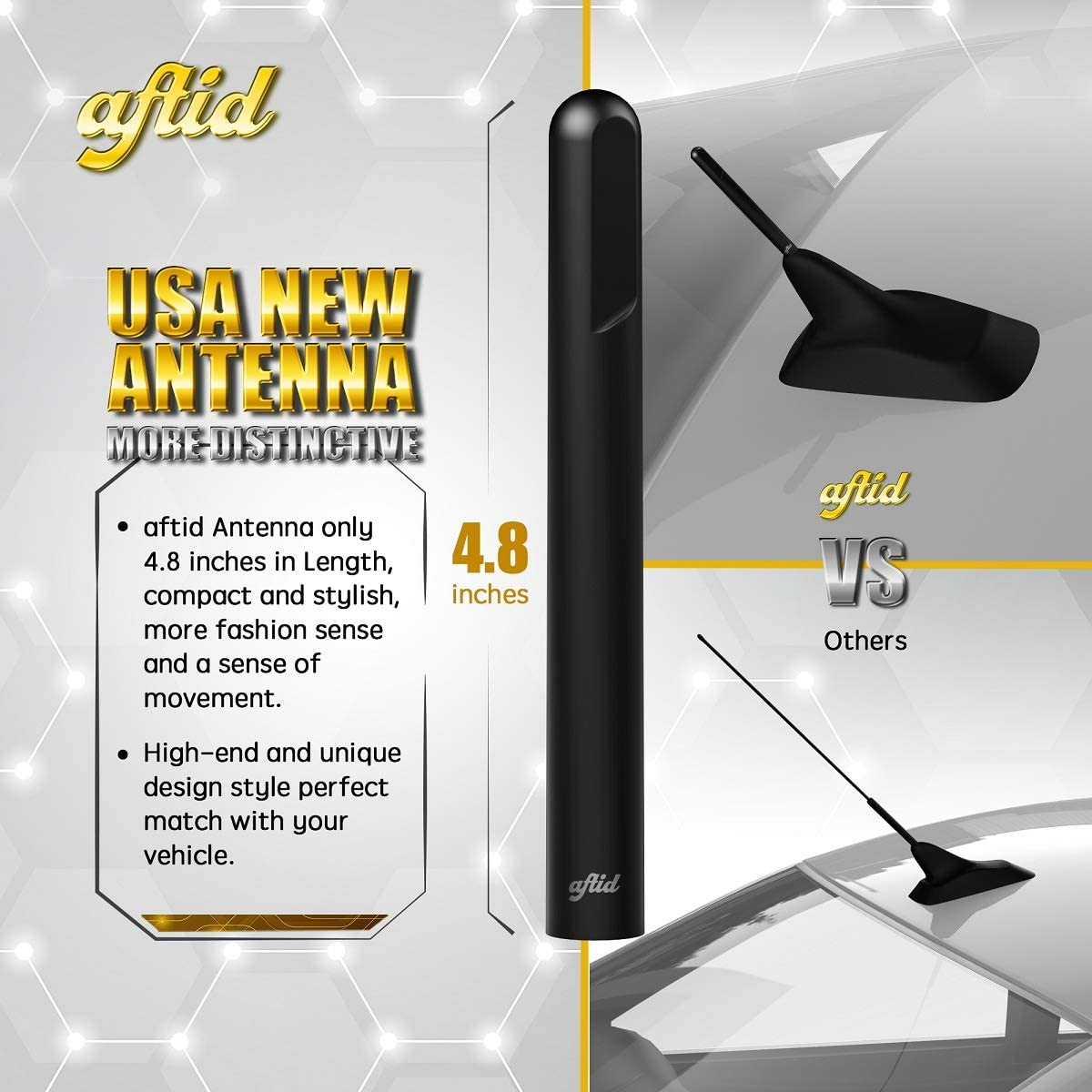 aftid 4.8 Short Antenna Replacement Compatible with Harley-Davidson Motorcycles 1998-2021
