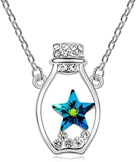 Crystal Lucky Star Diamond Accented Wishing Drift Bottle Pendant Silver Necklace
