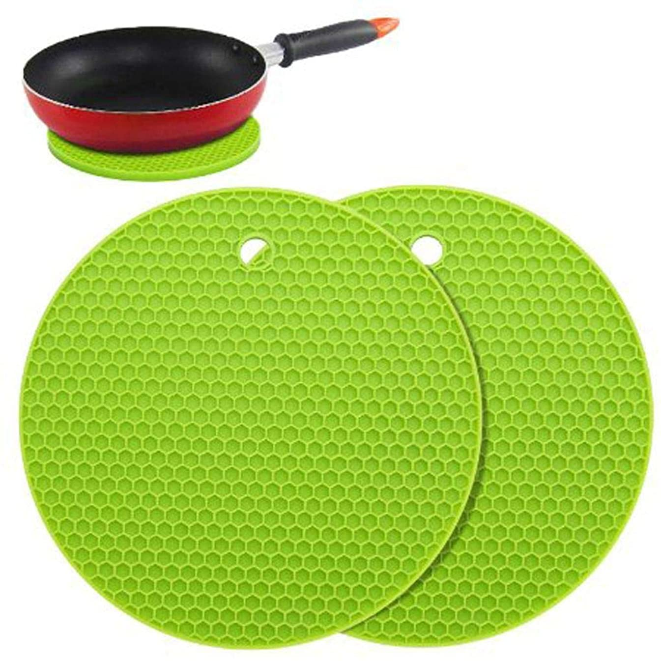 Topfire 2pcs Silicone Pot Holders Multipurpose Round Pot Holders Trivets Jar Openers & Spoon Rests
