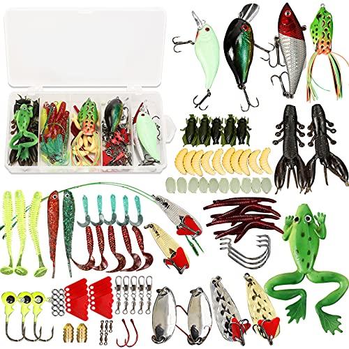 Fishing Lures Mixed,106 Pcs Fishing Tackle Kit Including...
