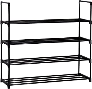 4-Tier Shoe Rack Metal Shoe Tower Shelf Storage Organizer Cabinet 90cm x 30cm x 85cm Black