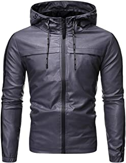 XWLY Men Jacket Men Motorcycle Jacket Windproof Waterproof Zipper Long Sleeve Synthetic Leather Bomber Jacket Outdoor Spor...