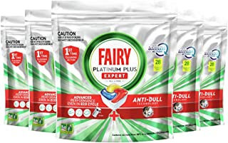 Fairy Platinum Plus Dishwasher Tablets 140 Pack (28 Pack x 5), Value Bundle