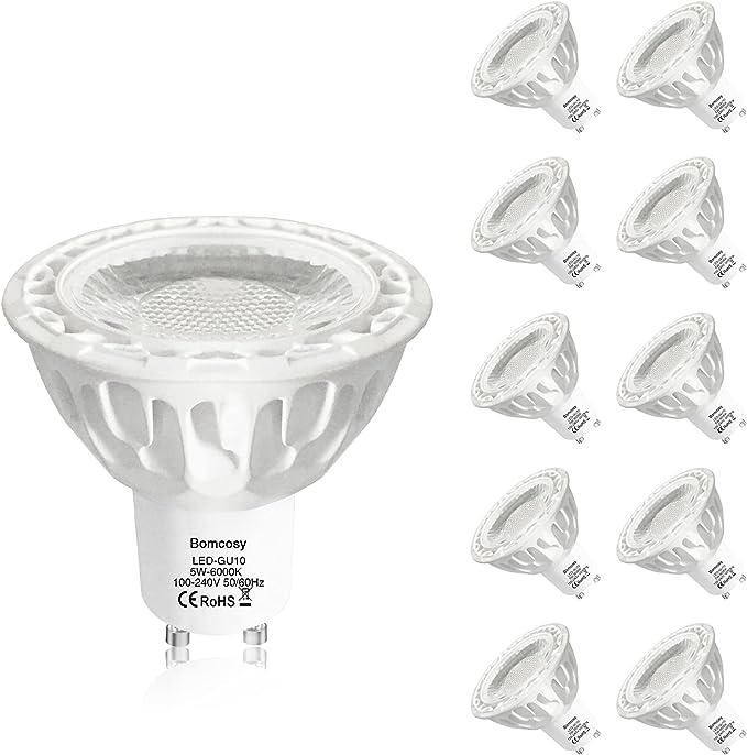 TALLA No-regulable-5W. Bombillas LED, GU10 5w Equivalente 50W Halógena, 6000K Blanco Frío, 550Lm, 36 Degree ángulo, Pack de 10