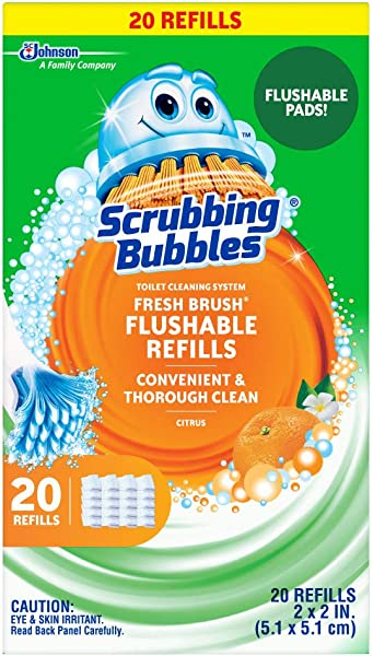 Scrubbing Bubbles Fresh Brush Toilet Cleaning System Flushable Refill 20 Ct