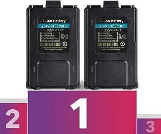 2PC Baofeng Battery BL-5 Li ion 7.4V 2100mAh for Two-Way HAM Radio UV-5R v2+ BF-F8HP, Mirkit Radio USA Warranty