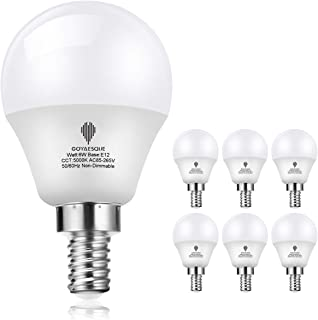 Goyaesque G45 LED Candelabra Light Bulbs, 6W E12 Base, A15 Ceiling Fan Light Bulb,Daylight White 5000K, Decorative for Ceiling Fan, Non Dimmable, Pack of 6