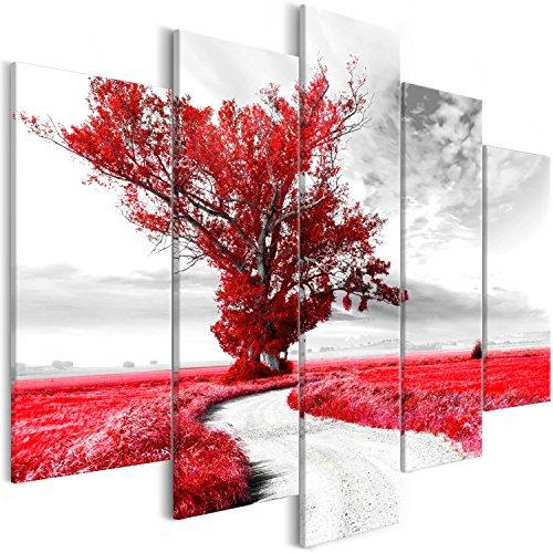 murando Quadro Paesaggio 200x100 cm Stampa su tela in TNT XXL Immagini moderni Murale Fotografia Grafica Decorazione da parete 5 pezzi Albero Natura rosso c-B-0356-b-o