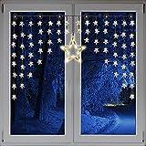 Beleuchteter Weihnacht Sternenvorhang Lichterkette Fensterdeko 90 LED warm weiß mit Saugnäpfe Einfach zu montieren Breite 135 cm, Höhe 95 cm, Zuleitung 5 m