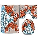 Beauté des cheveux rouges dans le style rétro vêtements de poupée victorienne oeuvre magique féminine 3 pièces ensemble tapis couverture de siège de toilette tapis de bain couvercle couverture coussin