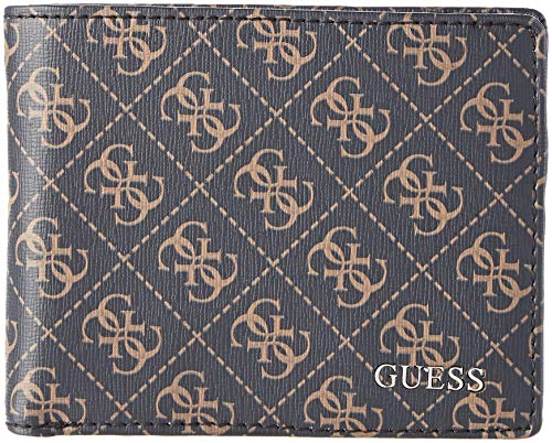 Guess Manhattan Logo, Men's Wallet, Brown, 4x9.8x12.4 cm (W x H L)