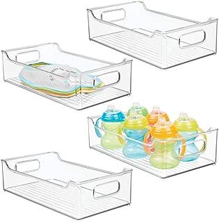 mDesign boite de rangement transparent caisse de rangement avec le devant abaiss/é pour une manipulation facile organiseur pratique pour le bureau lot de 2 la salle de bain ou la cuisine