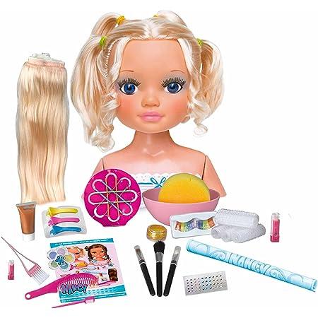 Nancy - Un día de Secretos de Belleza Rubia, busto de muñeca con el pelo largo para peinar y maquillar, con accesorios de belleza como peines, ...