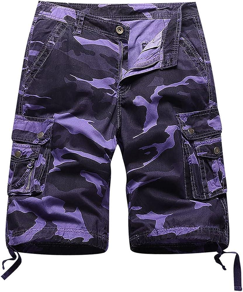 Xalutec Mens Camo Cargo Shorts Casual Relaxed Fit Pocket Outdoor Summer Camouflage Cargo Shorts for Men