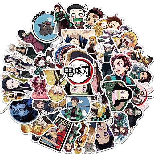 50St. Anime Cartoon Stickers Demon Slayer Aufkleber wasserdichte Vinyl Aufkleber für Wasserflasche Gepäck Fahrrad Auto Aufkleber (Demon Slayer)