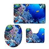 Coloranimal Cute Ocean Style Tropical Fish Toilet Seat Covers for Bedroom Living Room 3PCS/Set