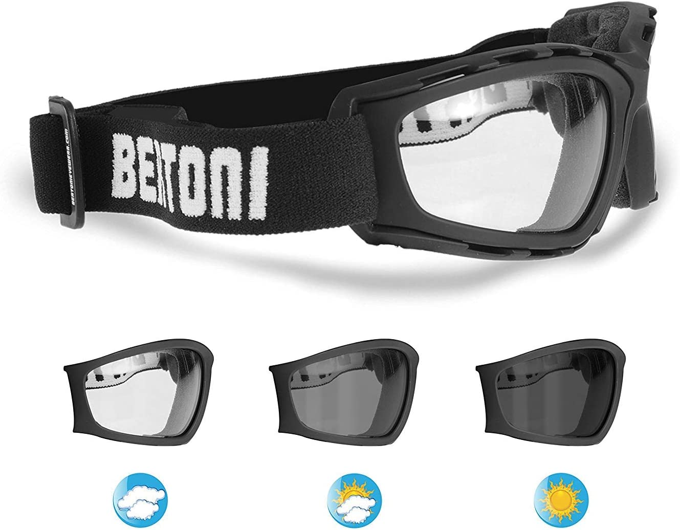 Bertoni Photochromic Motorcycle Goggles Extreme Sports Sunglasses Powersports Goggles Antifog Lens cod F120A by Bertoni Italy Wraparound Windproof Padded Glasses