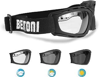 Motorrad-Sonnenbrille selbsttönend – Anti-Beschlag-Gläser – verstellbares Band – by Bertoni Italy – f120new