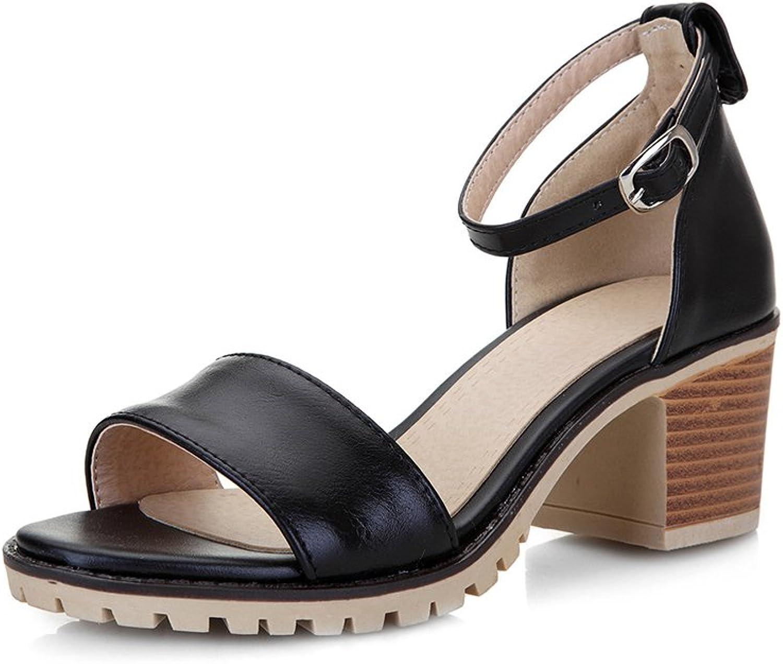 Guenns Women's Leather Anti-Skid Heel Buckled Fashion Sandals